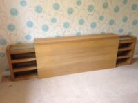 Ikea Malm double headboard in oak veneer, with sliding storage units: pet free and smoke free house.