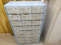 Barn find, steel large 24 drawer solid metal storage unit
