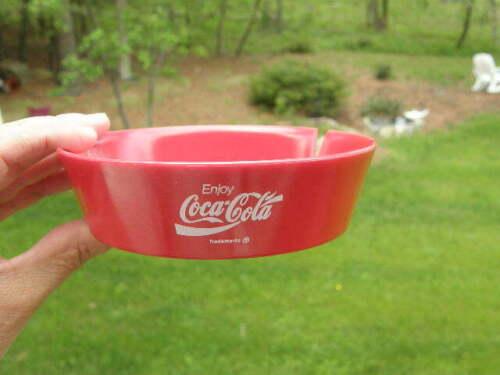 New Old Stock Retro Coca Cola Red Plastic Advertising Ashtray (Item #A)