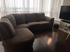 L shaped sofa couch brown