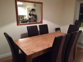 Pine Dining Room Set - Table, Dresser and Mirror *** Excellent Condition ***