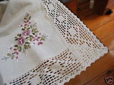 Ribbon Embroidery Crochet Lace Table Topper M Cream for sale  Shipping to Canada