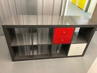 Ikea grey KALLAX shelving unit with contrasting drawers