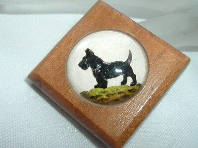 Vintage Scotty Scottie Dog Hand Painted Enamel and Wood Dress Clip in Gift Box