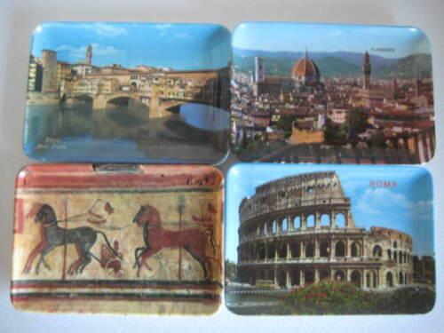 Vintage Souvenir Melamine Tray Florence Roma Ponte Vecchio Chariots Italy Set /4