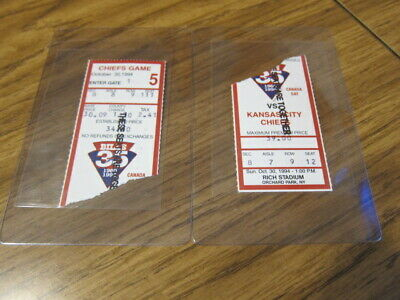 Lot of 2 Ticket Stubs Buffalo Bills vs. Kansas City Chiefs 10/30/1994