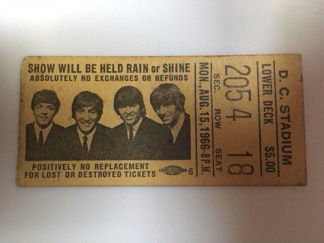 Beatles Original Washington, D.C. 1966 ticket