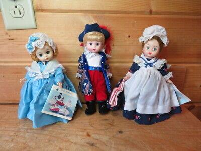 "Three vintage Madame Alexander Patriotic 8"" Dolls..Betsy Ross and United States"