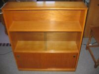 WOODEN BOOKCASE, CIRCA 1970's ?, WELL MADE WITH DOVETAIL JOINTS, TWO WOODEN DOORS. TWO GLASS DOORS.