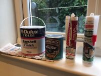 Eggshell paint, metal paint, long life putty and silicone sealant