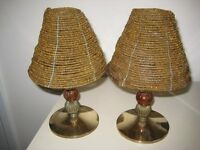Pair Of Quality Brass And Glass Indian Candle Table Lamps. OFFERS WELCOME.