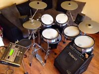 Roland TD20KX VPro Series electronic drum kit with PM30 powered monitor & satellite speakers