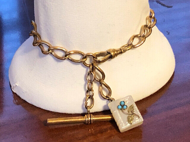 Victorian Gold Filled  Bracelet w/ Jeweled Double MOP Book Fob & T Bar