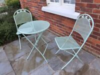Garden Furniture Bistro Table and Chairs (Mint Green)