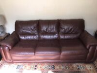 Very Comfortable Brown Leather 3-Seater Sofa