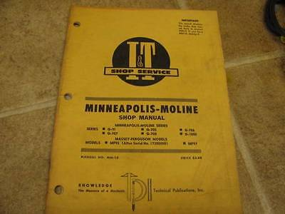 Minneapolis Moline It Shop Service Manual G-vi 707 G705 G708 G706 G1000 Mf95 97