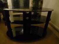 dark glass tv table