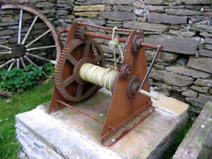 Old hand crank geared winch/hauler