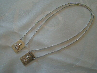 BRAND NEW 14K SOLID White Gold Scapular Necklace Made in Italy