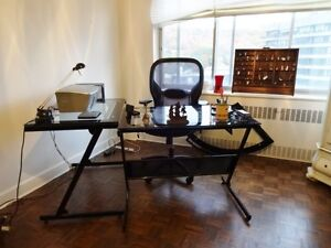 Glass Computer Desk with Side Table