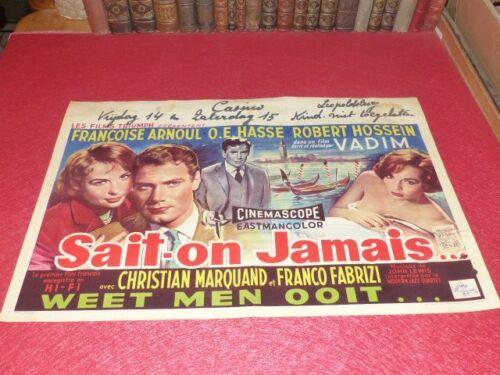 Cinema Poster Original Belgian - We Know Never - F.Arnoul Hossein Vadim 1957