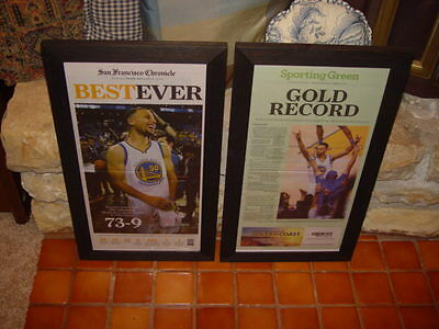 SET OF 2 GOLDEN STATE WARRIORS NEWSPAPER FRAMED 2016 NBA RECORD WINS MAN CAVE