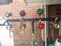 PINSPOTS x 8 SET WITH WIRED BULGIN STAND, VINTAGE RETRO LIGHTING