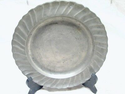 Antique Pewter Scallops - ANTIQUE SHELL SCALLOP SWIRL PATTERN PEWTER PLATE C 1790 ANGEL SCALES MARK B