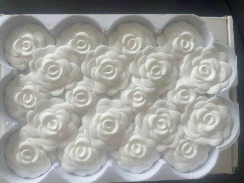 Authentic CHANEL White 3D Camellia Flower Stickers Pin Brooch Craft Lot of 20