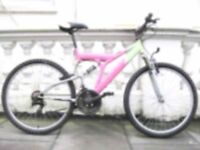A LADIES WOMENS PINK MOUNTAIN BIKE BICYCLE CYCLE 26 INCH WHEEL FULL SUSPENSION TYPE
