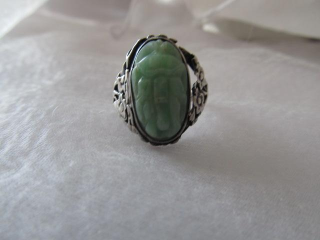 Vintage-Antique Chinese Carved Jade Sterling Silver Ring