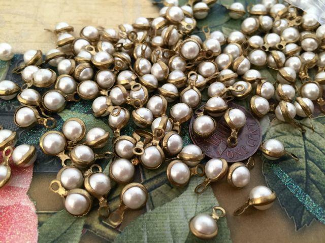 Vintage 6 x 11mm Brass Wrapped Lucite Pearl Charms Japan 24