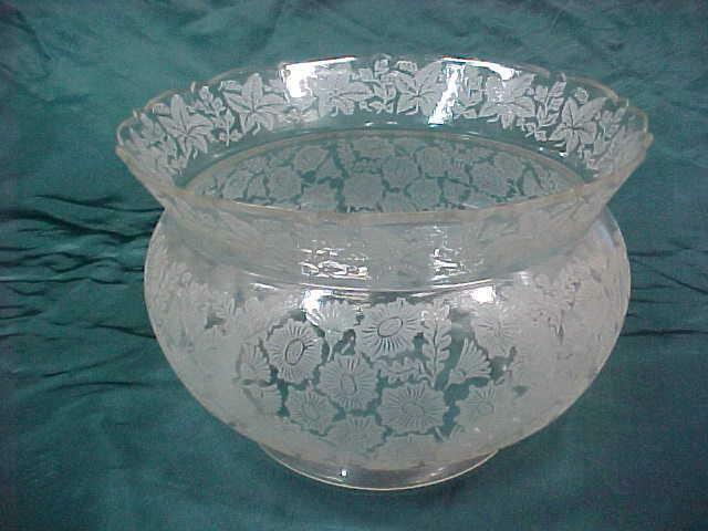 Antique Deep Etched Crown Gas/Oil Shade, 5in. Fitter