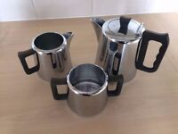 Vintage Swan Brand Tray, Chrome Plated Tray with Handles AND tea set