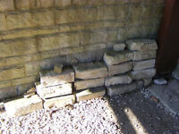 Some stone style bricks from garden wall . From Bussage estate .