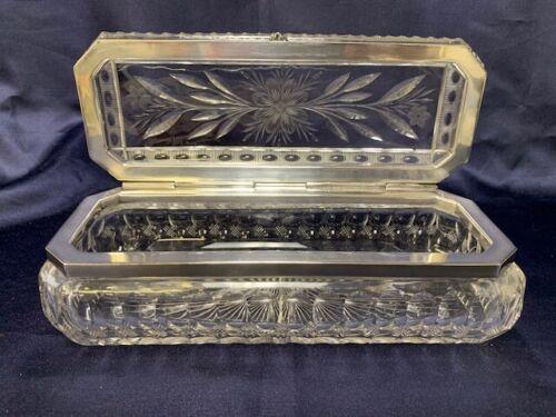ANTIQUE VINTAGE BRILLIANT CUT GLASS HINGED GLOVE DRESSER BOX