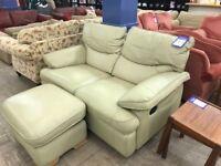 Cream Leather Reclining Sofa & Footstool