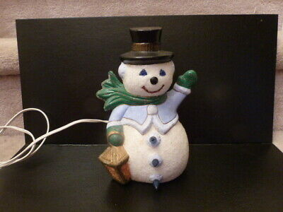 Ceramic Snowman - Vintage Glitter sanded textured Light up Christmas ceramic snowman with lantern