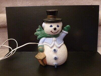 Vintage Glitter sanded textured Light up Christmas ceramic snowman with lantern