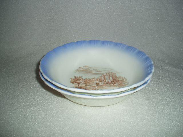 2 Chinex Classic Blue Trim Castle Cereal Bowls MacBeth-Evans Depression Glass