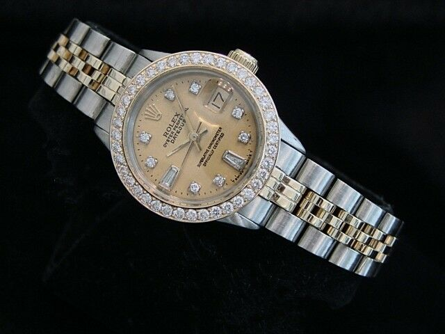 Rolex Datejust Ladies 14k Gold & Steel Watch Champagne Diamond Dial & 1ct Bezel