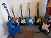 SET OF 6. EXCELLENT CONDITION FULL SIZE GUITARS.