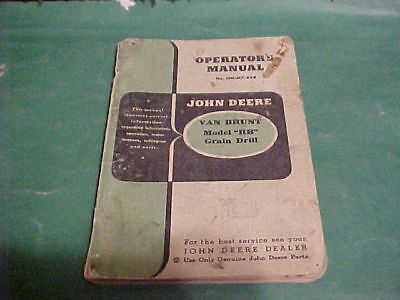 John Deere Van Brunt Rb Grain Drill Operators Manual