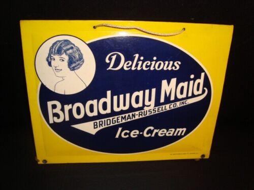 Circa 1920s Broadway Maid Ice Cream Sign, Duluth, Minnesota