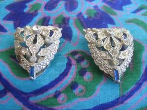 Pr. OLD ANTIQUE ORNATE / SPARKLY VICTORIAN-STYLE SCARF CLIPS