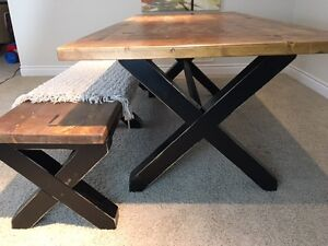 Rustic Farmhouse XBase Table and Bench London Ontario image 4