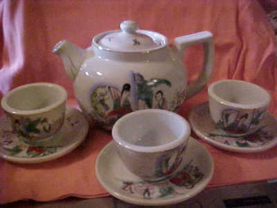 VINT Asian GEISHA GIRLS Oriental Ball Type Tea Pot And 3 Cups With Saucers Sets
