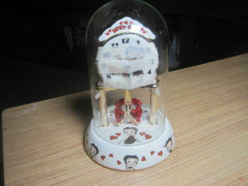 NWOB BETTY BOOP PORCELAIN ANNIVERSARY GLOBE GLASS COLLECTIBLE CLOCK **READ**