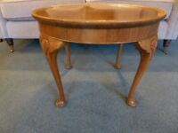 Vintage round coffee table small table side table light wood