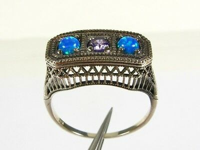 .20ct Natural Amethyst and Opal Victorian Deco Sterling Filigree Ring sz8 114b